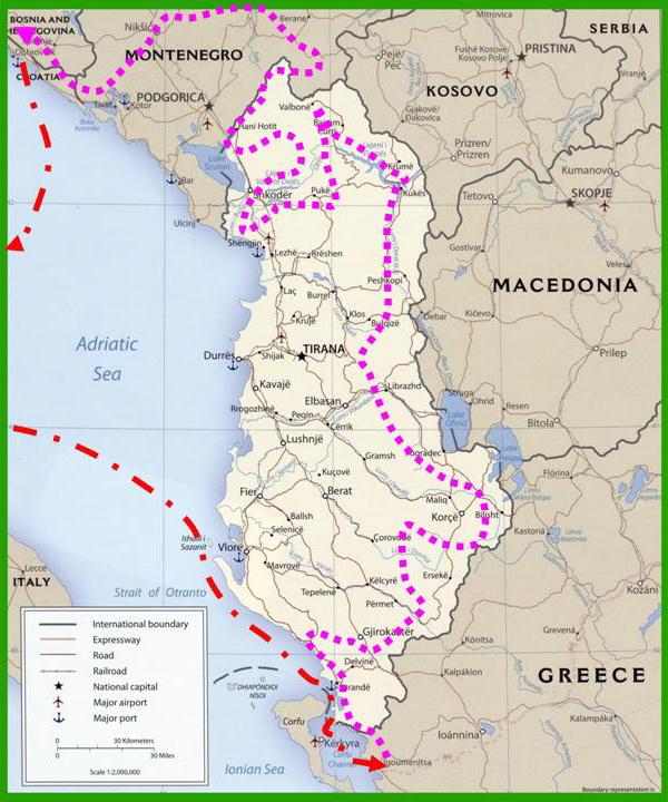 Albania Cartina Stradale.Albania Country